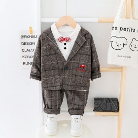 秋季新款小西装套装韩版礼服帅气童装三件套