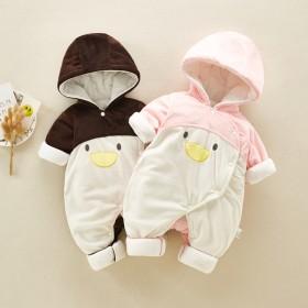 女婴儿珊瑚绒连体衣服可爱超萌秋季薄棉宝宝网红动物哈