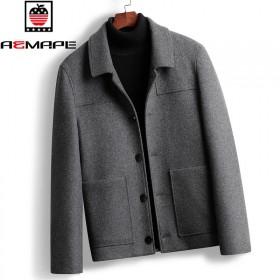 美国苹果男士短款春秋季羊毛呢外套韩版潮流夹克休闲英