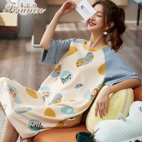 蒂茹欣睡衣女夏季短袖睡裙韩版少女针织纯棉女士家居服