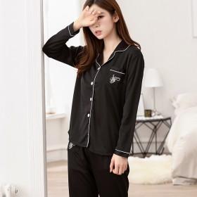 春秋韩版女款休闲长袖单女黑色女士长宽松开衫睡衣套装