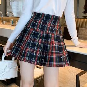 法式复古高腰百褶短裙2020秋装韩版新款俏皮减龄
