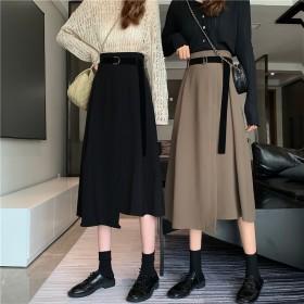 2020秋冬不规则a字裙伞裙气质百搭大码半身长裙
