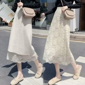 纯色甜美针织半身裙俩面可穿2020秋冬款镂空中长裙