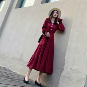 红色V领雪纺连衣裙2020春装新款法式小众仙女长裙