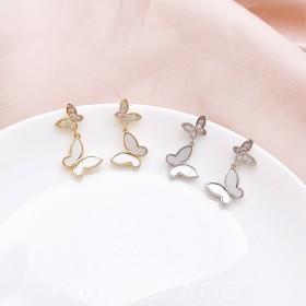 耳环2020新款潮韩国显脸瘦蝴蝶耳钉耳饰设计感小众