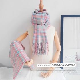 儿童围巾秋冬女格子围巾宝宝保暖仿羊绒围巾男女童冬季