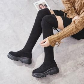 长筒靴女过膝骑士靴厚底靴子2020新款瘦瘦靴增高鞋