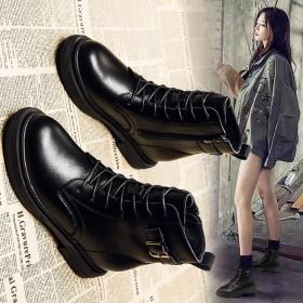 内增高真皮平底英伦风潮牌保暖女马丁靴
