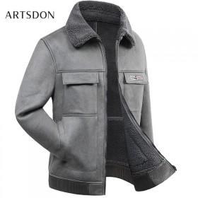 阿仕顿羊剪绒短款棉衣加厚男士翻领机车男士颗粒绒保暖