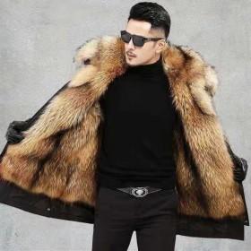 冬季新款派克服男狐狸貉子毛可拆卸内胆中长款加厚棉衣