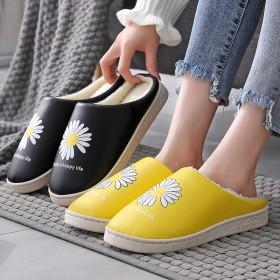 居家加厚室内家用月子防水情侣厚底防滑皮棉拖鞋
