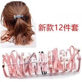 新款发绳12件套发饰成人橡皮筋韩式森女系发圈头绳