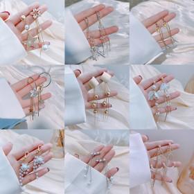 韩国S925银针耳钉长款气质流苏高级感耳环女珍珠