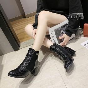 复古皮面马丁靴女英伦风粗跟高跟黑色短靴子潮女鞋