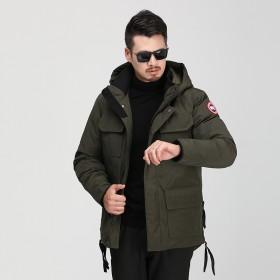 白鸭绒加拿大风新款工装羽绒服男士短款加厚冬装大码多