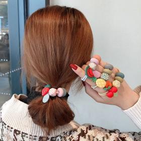ins水果彩珠头绳女可爱少女扎头皮筋发圈高弹力加粗