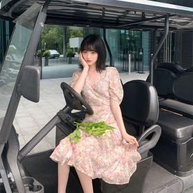 连衣裙2020新款韩版女学生碎花雪纺裙