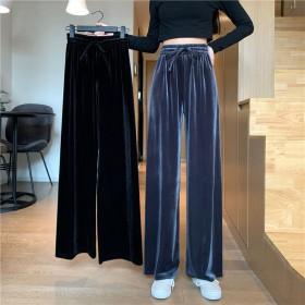 秋季新款韩版阔腿休闲裤女丝绒垂感拖地裤高腰裤子