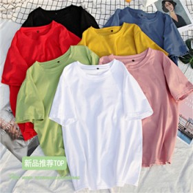 纯色半袖上衣ins学院风宽松韩版男女款春夏季打底衫