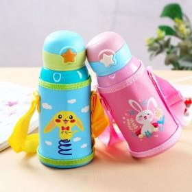 不锈钢可爱儿童保温杯带吸管两用宝宝水壶学生杯便