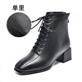 雪地意尔康2020新款马丁靴女真皮短靴粗跟中跟