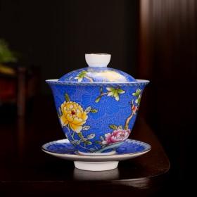 陶瓷珐琅彩盖碗复古功夫茶具家用泡茶器