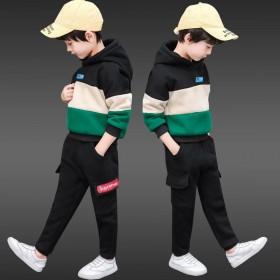 男童冬装加绒加厚套装秋冬儿童宝宝卫衣带帽帅气运动