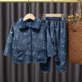 秋冬季儿童睡衣法兰绒中童1-11岁男女童珊瑚绒家居