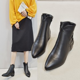 新款时尚复古尖头高帮皮靴欧洲站英伦马丁靴休闲短靴