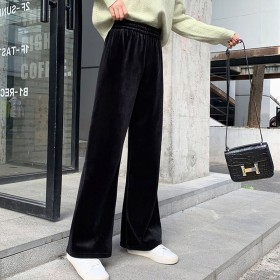 金丝绒阔腿裤女冬拖地裤坠感加绒直筒高腰休闲长裤子