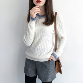 Cara新款V领宽松慵懒风百搭羊毛针织衫加厚打底衫