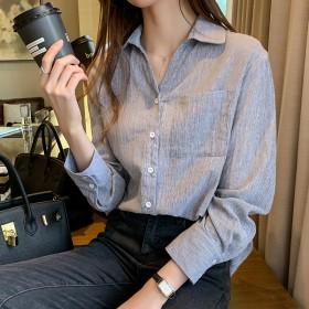 条纹衬衫女长袖2020秋季新款宽松韩版港味衬衣