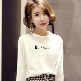秋季女装新款短袖T恤韩版时尚印花圆领宽松打底上衣