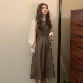 设计感秋冬收腰显瘦背带裙新款气质女神范a字连衣裙森
