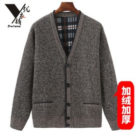 男保暖加绒中年款开衫加厚上衣毛衣外套中老年人V领冬