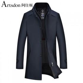阿仕顿秋冬新款可脱卸羊毛内胆风衣三合一中长款立领商