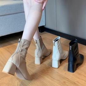靴子女粗跟短靴中跟马丁靴英伦风方头网红弹力瘦瘦靴