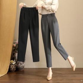 裤子女烟管裤哈伦裤显瘦百搭阔腿休闲直筒九分西装裤