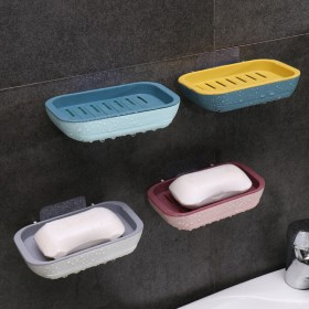 双层抽屉式香皂盒免打孔壁挂沥水肥皂盒卫生间收纳置物