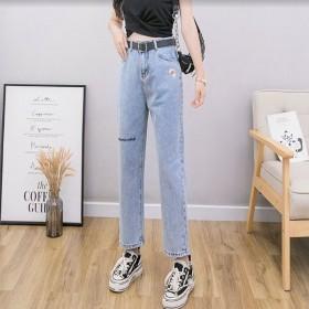 牛仔裤女高腰2020年新款直筒宽松大码【长裤】