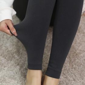 秋冬拉毛裤拉绒加绒厚打底裤显瘦修身保暖踩脚连裤袜打