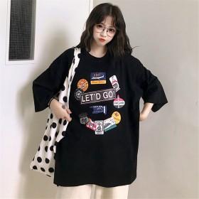 精梳棉2020夏季新款韩版中长款女式短袖t恤女上衣