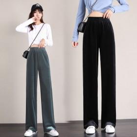 金丝绒阔腿裤女春秋高腰宽松下坠垂感直筒黑色显瘦长裤
