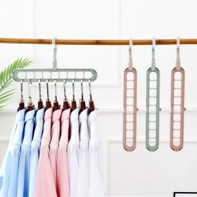 多功能衣柜九孔衣架创意可旋转防风晾晒衣架塑料收纳9