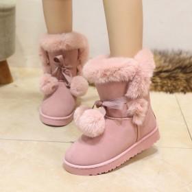 东北户外雪地靴女加绒加厚防水防滑皮毛一体中筒靴可爱