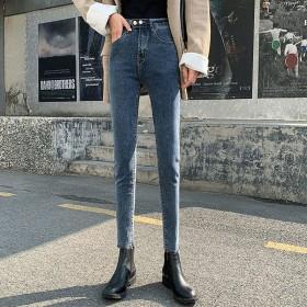 高腰弹力牛仔裤女九分柔软面料2020年新款显瘦小脚