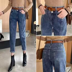 复古高腰新款牛仔裤女2020秋季宽松显瘦直筒哈伦萝