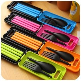 塑料餐具三件套 便携旅行套装 折叠组合筷子叉勺