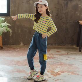 儿童牛仔裤子宽松洋气女童中大童裤子长